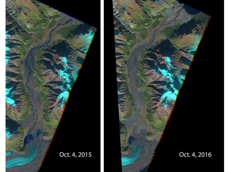 Imagen comparativa que muestra el río en octubre de 2015 y en octubre de 2016, apreciándose una grave y preocupante diferencia y disminución.