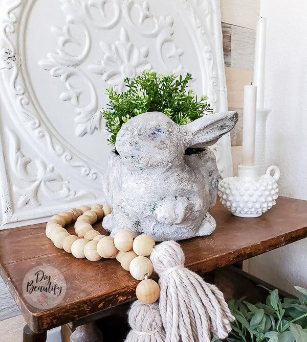 faux stone bunny