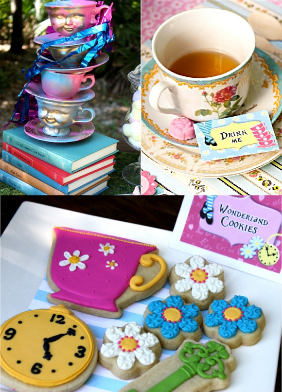 Alice in Wonderland Mad Hatter Tea Party Ideas - via BirdsParty.com