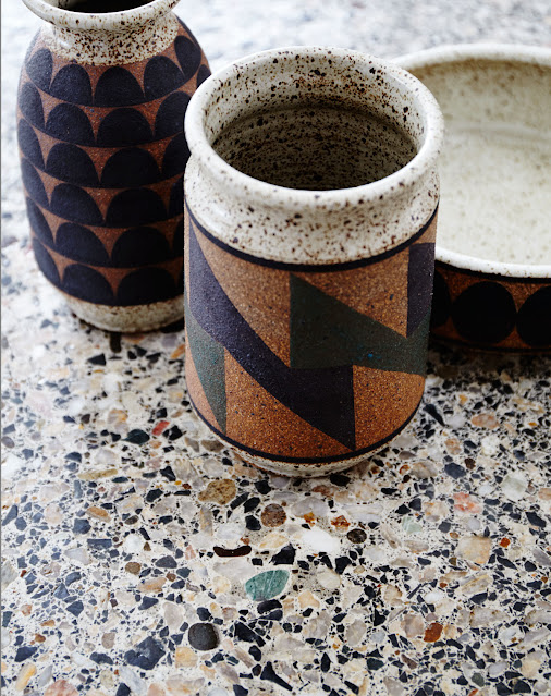 handmade neutral geometric pottery