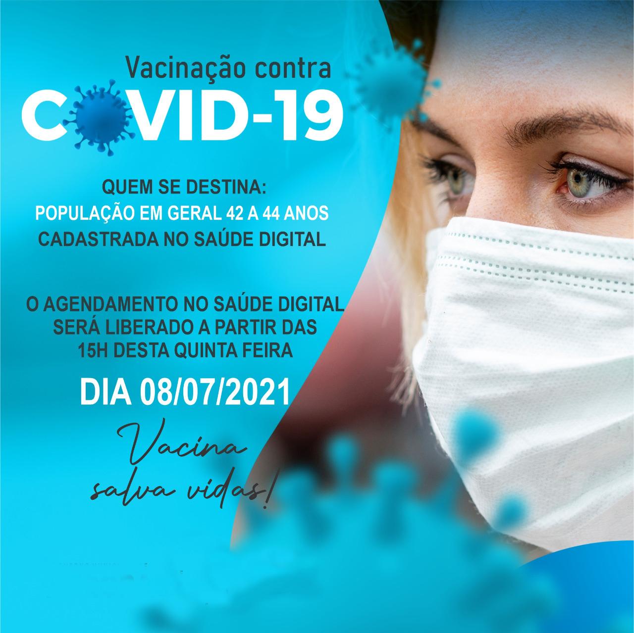 Aurora abre amanhã, quinta-feira, agendamento para vacinar contra covid-19 população em geral de 42 a 44 anos