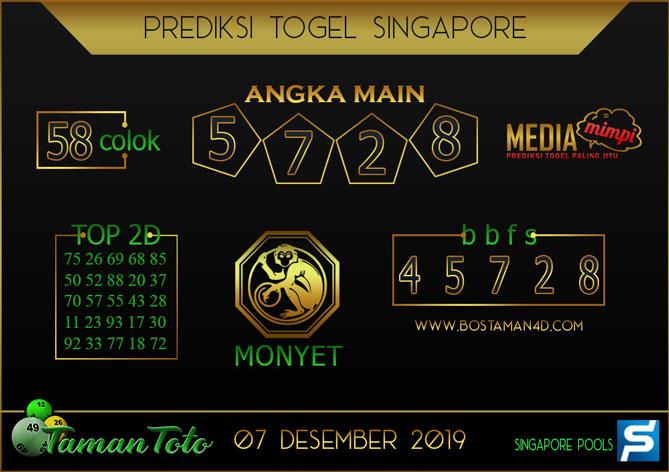 Prediksi Togel SINGAPORE TAMAN TOTO 07 DESEMBER 2019