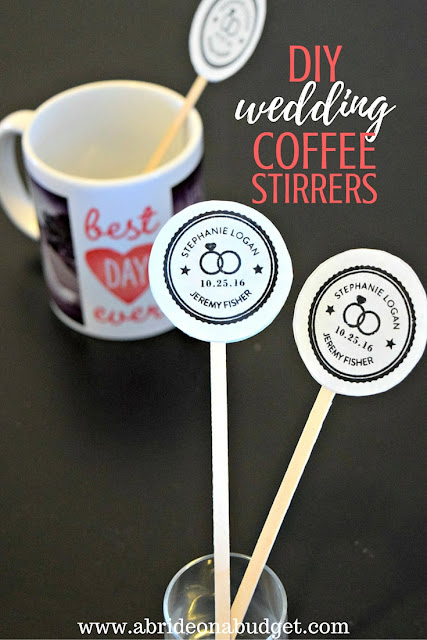 Love coffee? Incorporate it into your wedding with these DIY Wedding Coffee Stirrers from www.abrideonabudget.com.