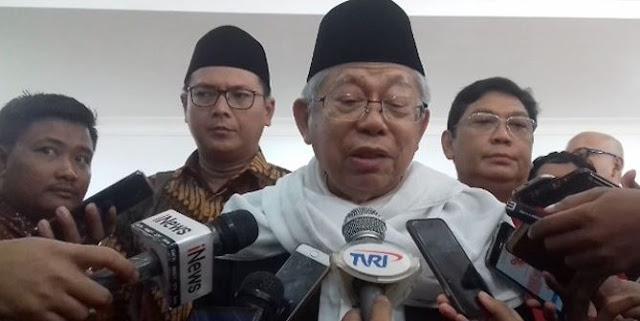 KH Ma'ruf Amin Ngaku Pusing Kalau Sehari Gak Ketemu Wartawan, Sindir Prabowo?