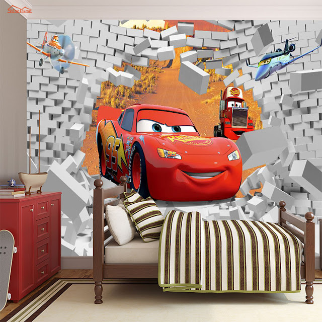 Disney Cars Wall Mural 3D Wallpaper Sticker Cars planes Brick Wall breaking through wall children room kids bedroom Cool Lightning