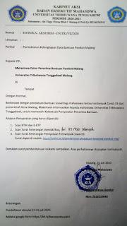 Mahasisiwa Rantau Masih di Malang, Diberi Bansos dari Pemkot Malang