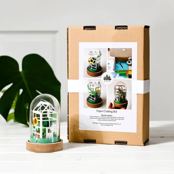 paper greenhouse craft kit with glass dome and box