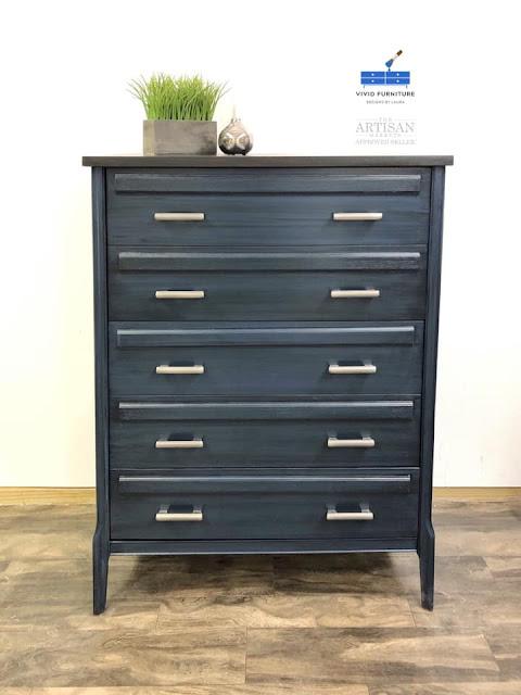 blue custom dresser makeover