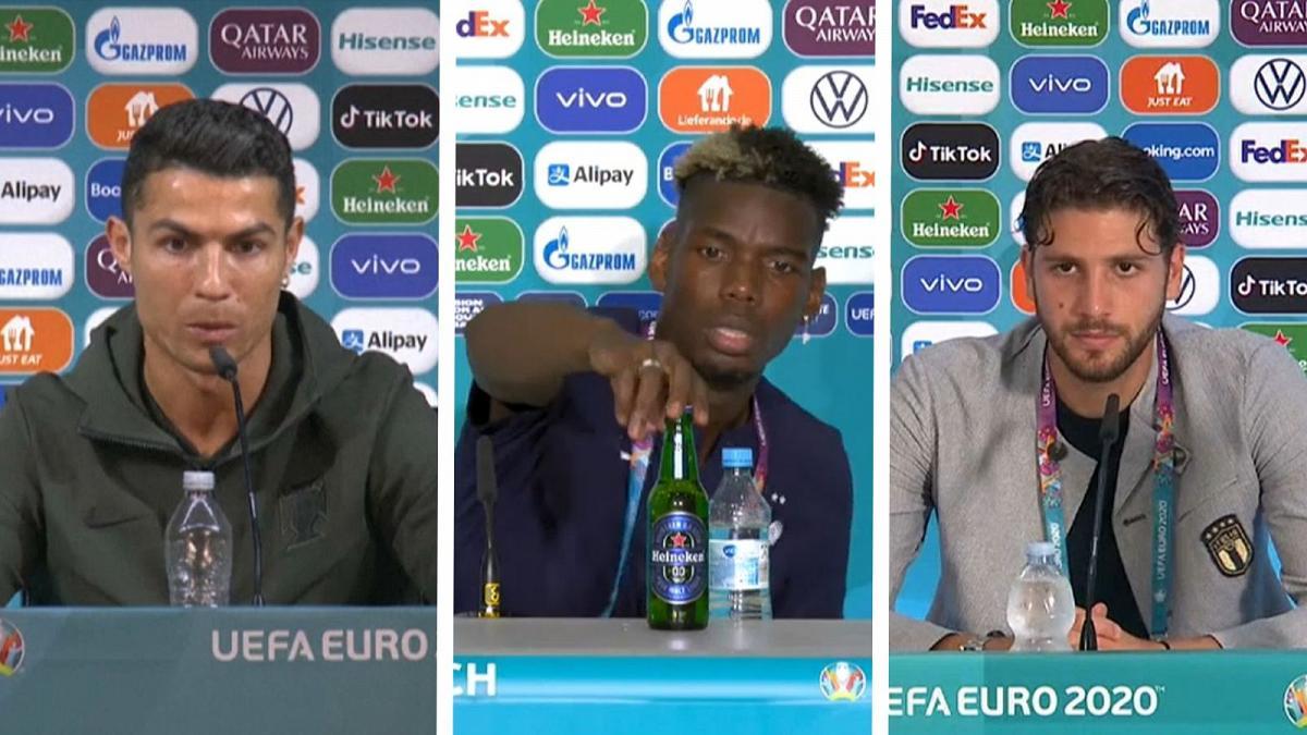 tren Euro 2020, pemain memindahkan botol saat konfrensi pers