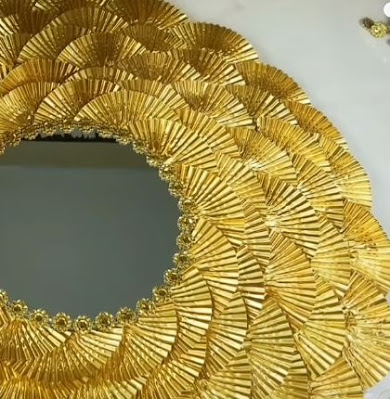 DIY- صناعة ديكور المرآة الذهبية