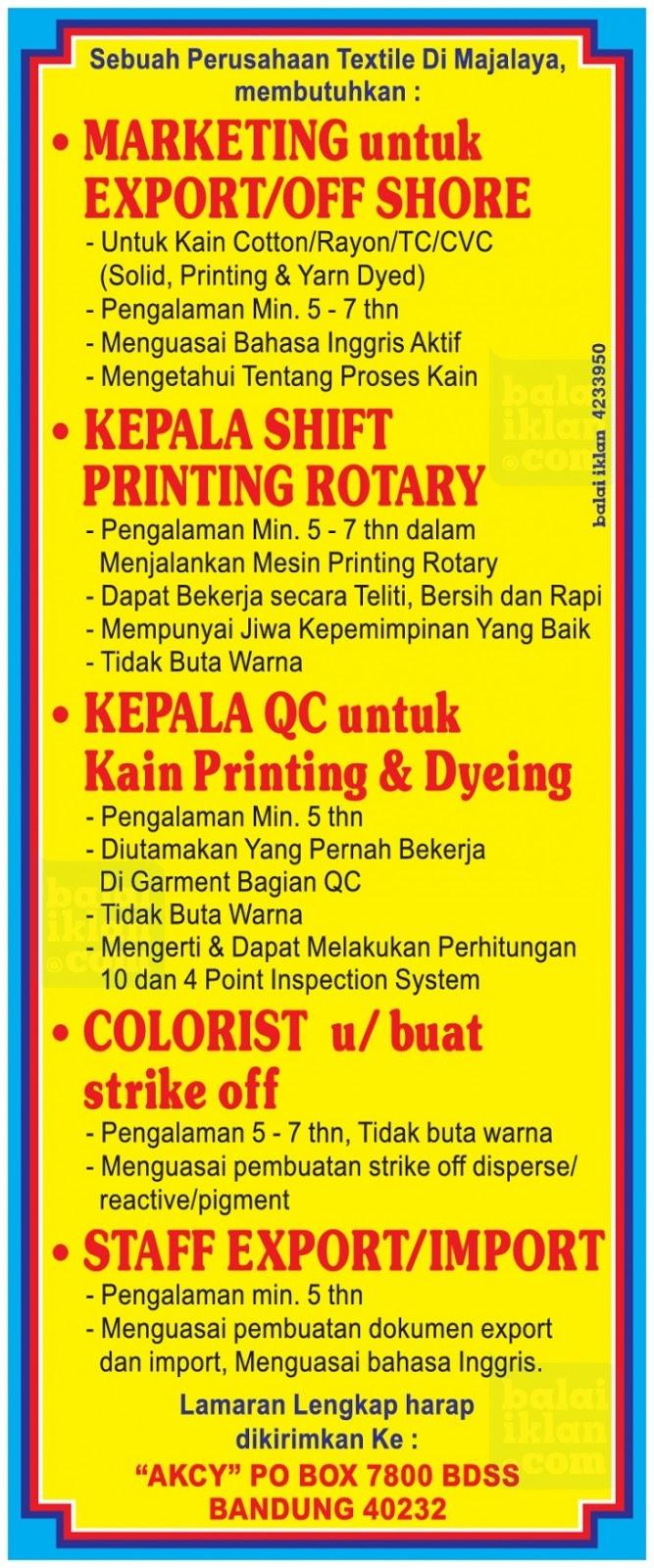 Lowongan Kerja Perusahaan Textile Majalaya Bandung Juni 2016