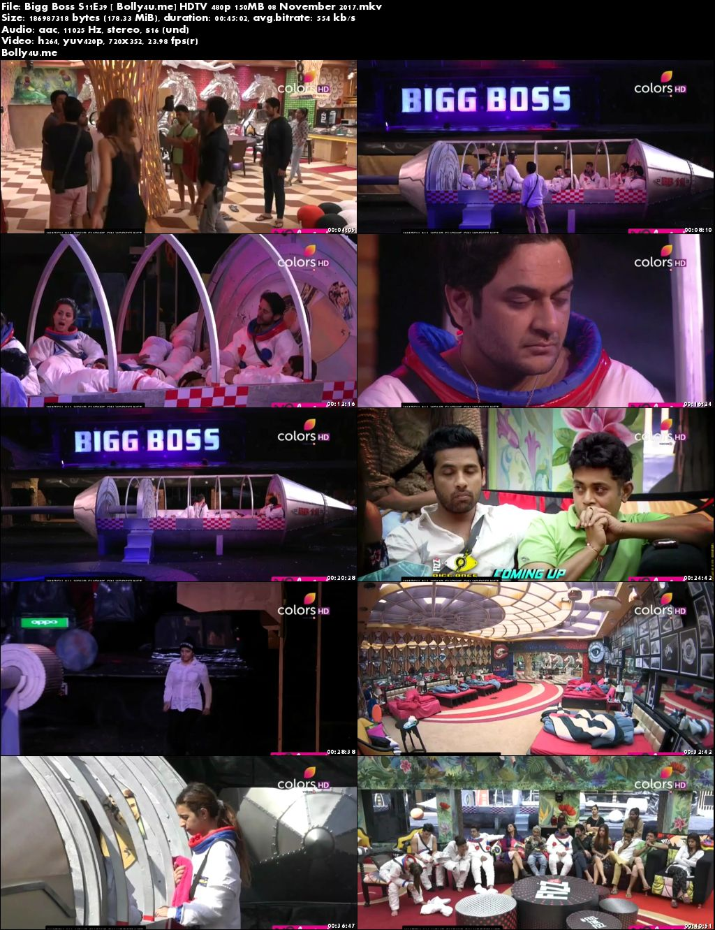 Bigg Boss S11E39 HDTV 480p 150MB 08 November 2017 Download