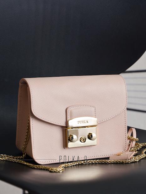 Furla Metropolis Mini Crossbody Bag - Light Pink Polka
