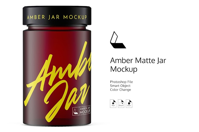 Amber Matte Jar Mockup[Photoshop][4944481]