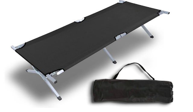 I.P.L. Heavy Duty Lightweight Folding Camping Cot Bed, Foldable Portable Sleeping Cot for Adult, Patio, Beach, Hiking, Camping, Travel, Office Nap, Outdoor, Indoor (Colour-Assorted Multicolour)