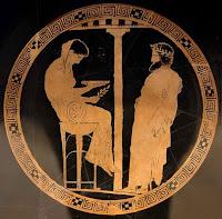 Pythia Orakel von Delphi Spiegel Wasserschale