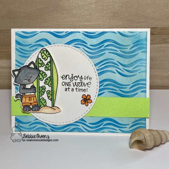 Enjoy life one wave at a time by Debbie features Newton's Perfect Wave, Wave, and  Circle Frames by Newton's Nook Designs; #inkypaws, #newtonsnook, #catcards, #cardmaking, #summercards