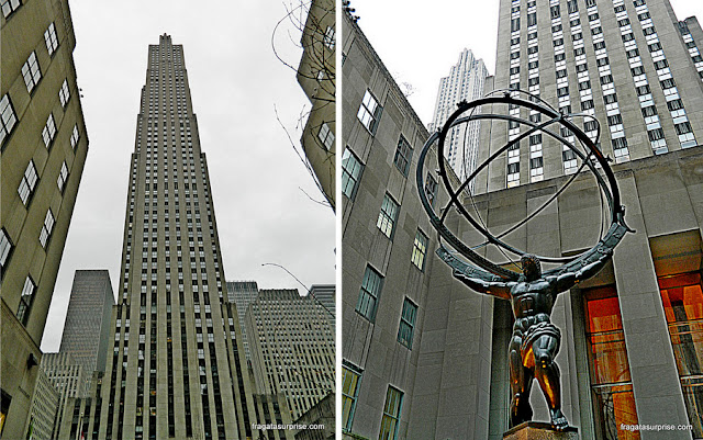 "Torre do Rockefeller Center e a escultura ""Atlas"""