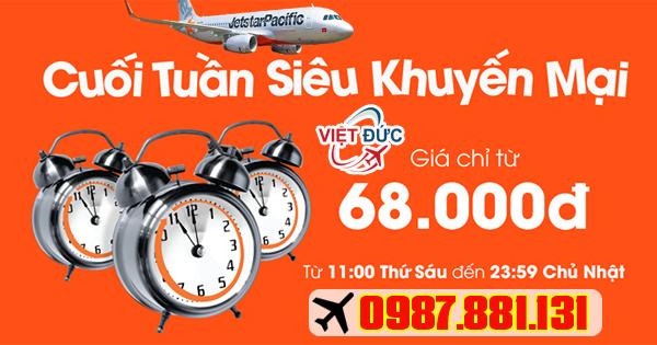 Mua vé siêu khuyến mãi Jetstar giá 68k ngày 10/03/2017