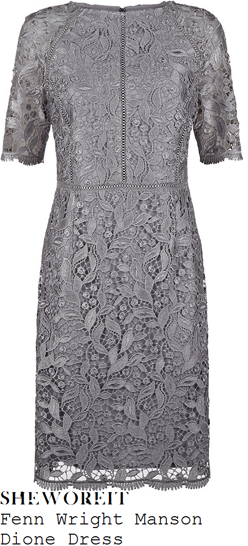 lorraine-kelly-fenn-wright-manson-dione-silver-grey-sheer-floral-lace-overlay-half-sleeve-ladder-trim-detail-scalloped-edge-tailored-shift-dress