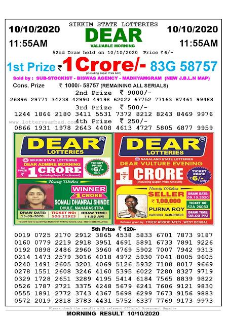 Lottery Sambad 10-10-2020, Lottery Sambad 11.55 am results, Sikkim Lottery Results, Lottery Sambad Today Results Live, Morning results