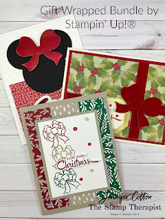 Three cards with Stampin' Up!®'s Gift Wrapped Bundle.  Details on the blog with link to video!  #StampinUp #StampTherapist
