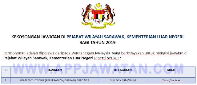 Pejabat Wilayah Sarawak, Kementerian Luar Negeri