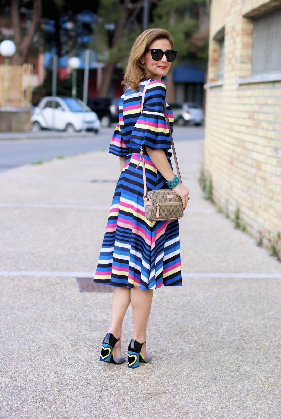 Striped midi dress and Giovanni Fabiani Mary Jane con cuore on Fashion and Cookies fashion blog, fashion blogger style
