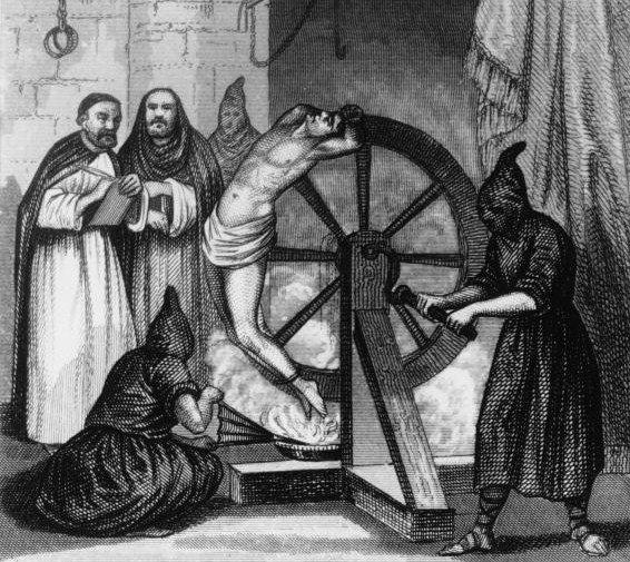 A prisoner undergoing torture at the hands of the Spanish Inquisition