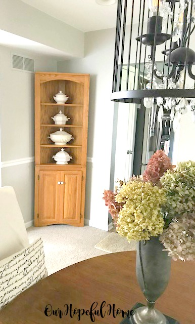 pine corner cabinet hutch ironstone dining room chandelier hydrangeas trophy