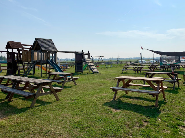 Play area at Wings cafe at North Weald Airport includes a climbing frame and trampolines