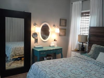 Rustic headboard nightstand teal white ikea mirror vanity