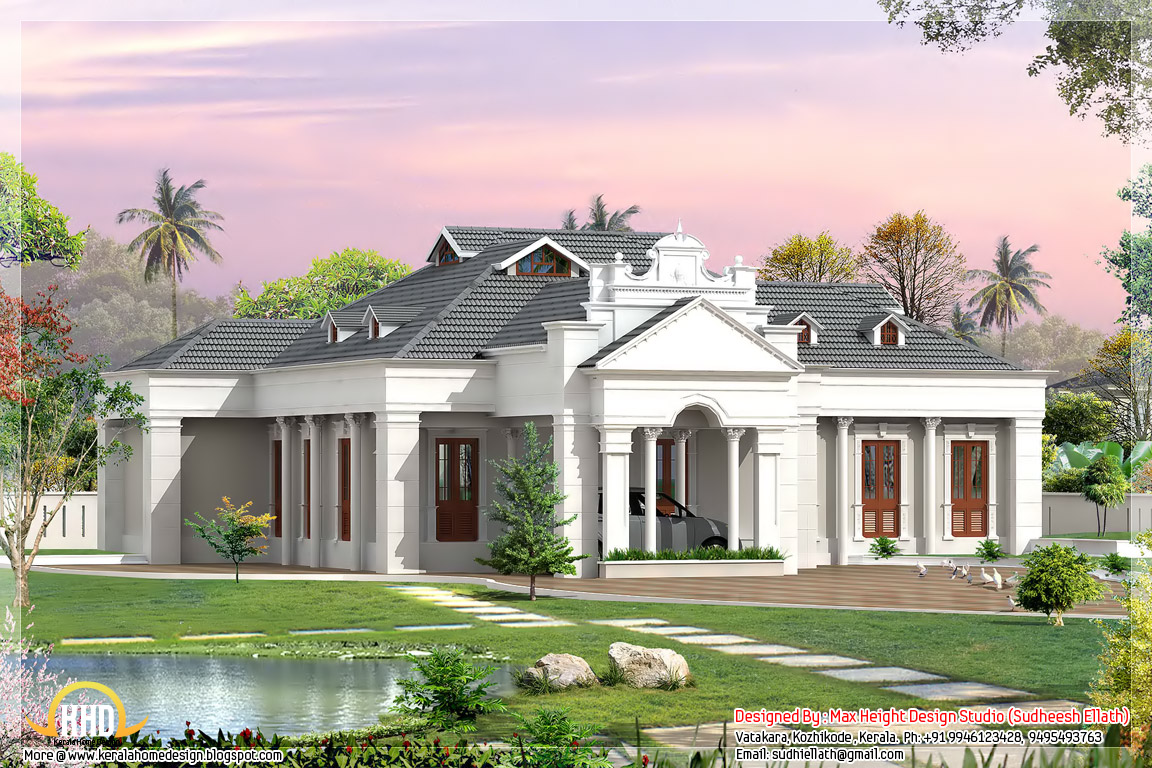 2 different 3d home elevations kerala home design and for Different elevations of house