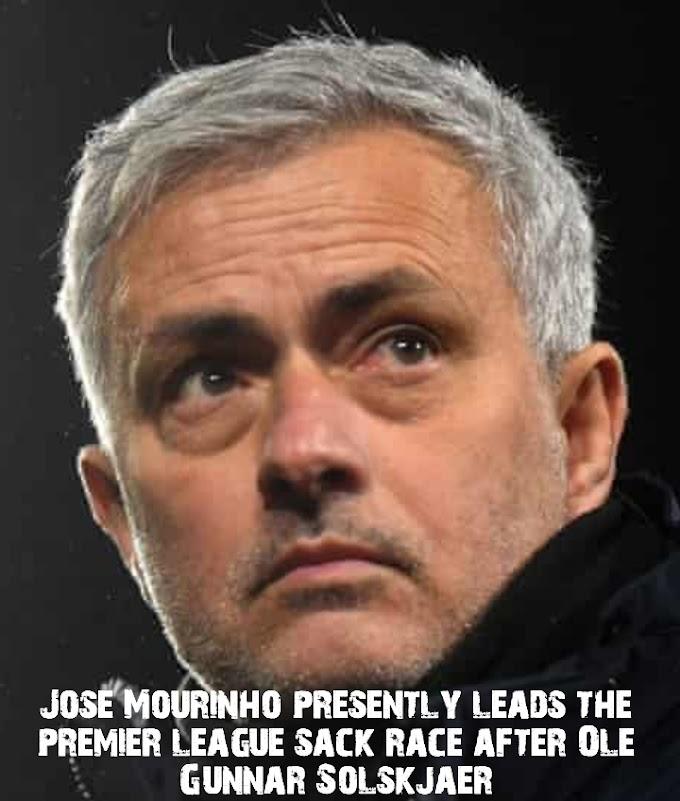 Jose Mourinho presently leads the premier league sack race after Ole Gunnar Solskjaer