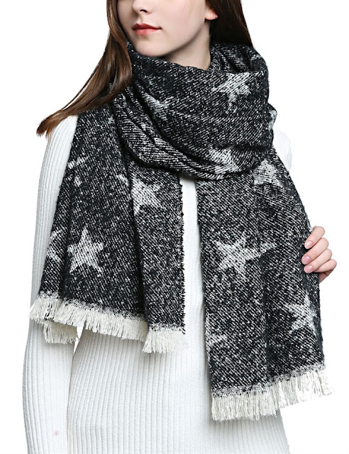 black and white scarf with stars
