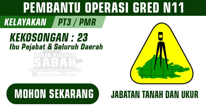 Jawatan Kosong Kerajaan Negeri Sabah | PEMBANTU OPERASI GRED N11