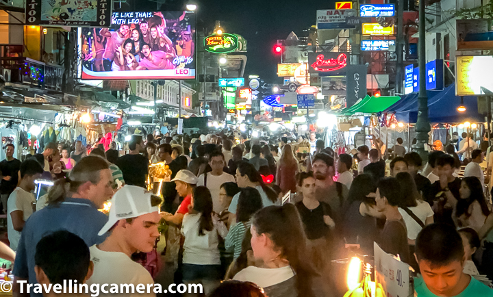 Some folks have tagged Khao San Road as World's wildest night party place and certainly it's crazy. Nightlife at Khao San Road exemplifies young crowd walking all around with beer or a bucket of cocktail and high on music playing all across the street.