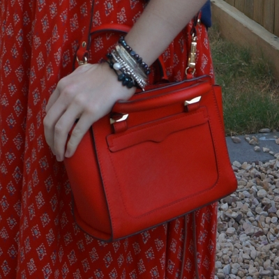 bracelet stack and printed maxi skirt with Rebecca Minkoff red micro Avery cross body bag | away from the blue