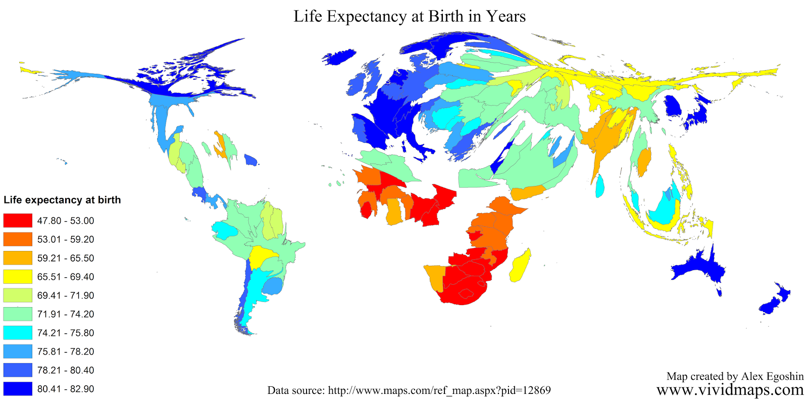 Life expectancy at birth in years