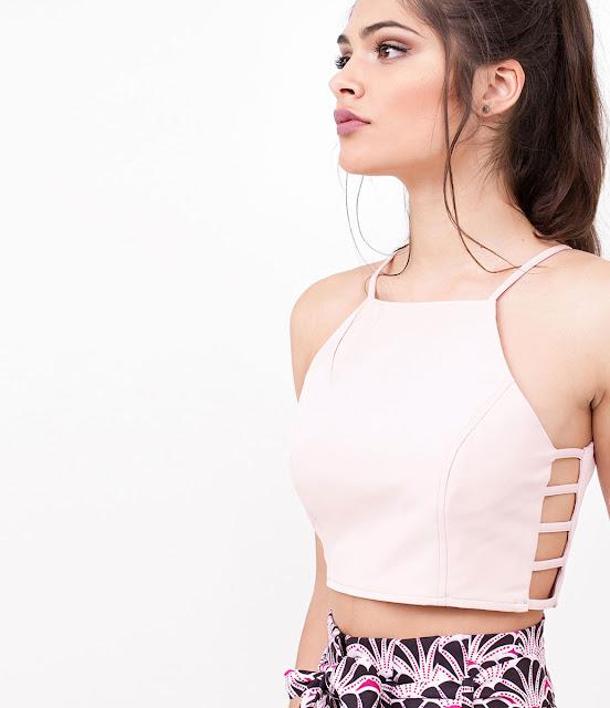 Moda feminina Blusa Cropped com Tiras Laterais