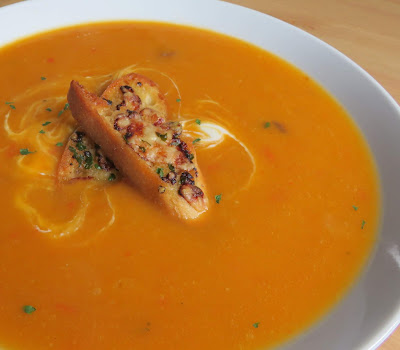 Spiced Butternut Squash Soup with Honey & Cheddar Croutons