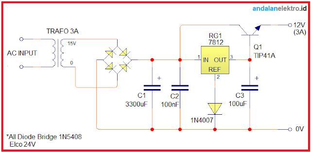 Skema Rangkaian Power Supply 12V 3A Trafo Biasa/Engkel