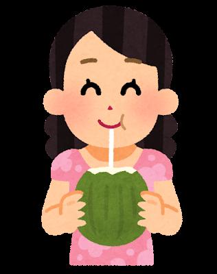ヤシの実ジュースを飲む女性のイラスト