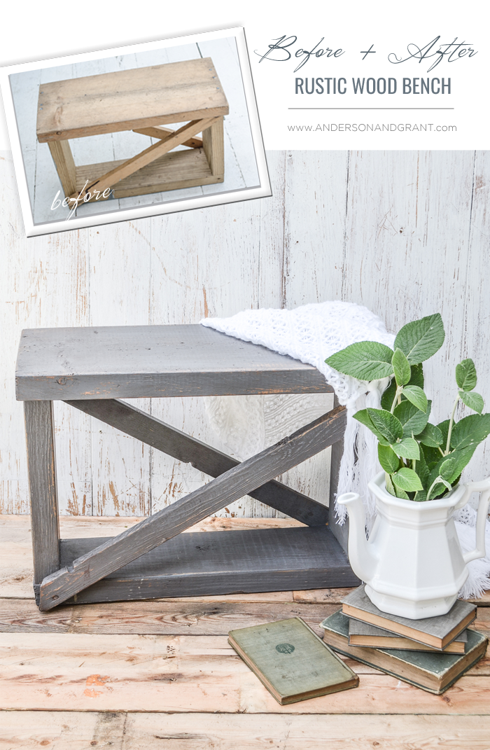 This small bench was constructed out of old boards and given lots of vintage charm with paint, wax, and a secret distressing technique.  #farmhouse #farmhousebench #fusionmineralpaint #andersonandgrant