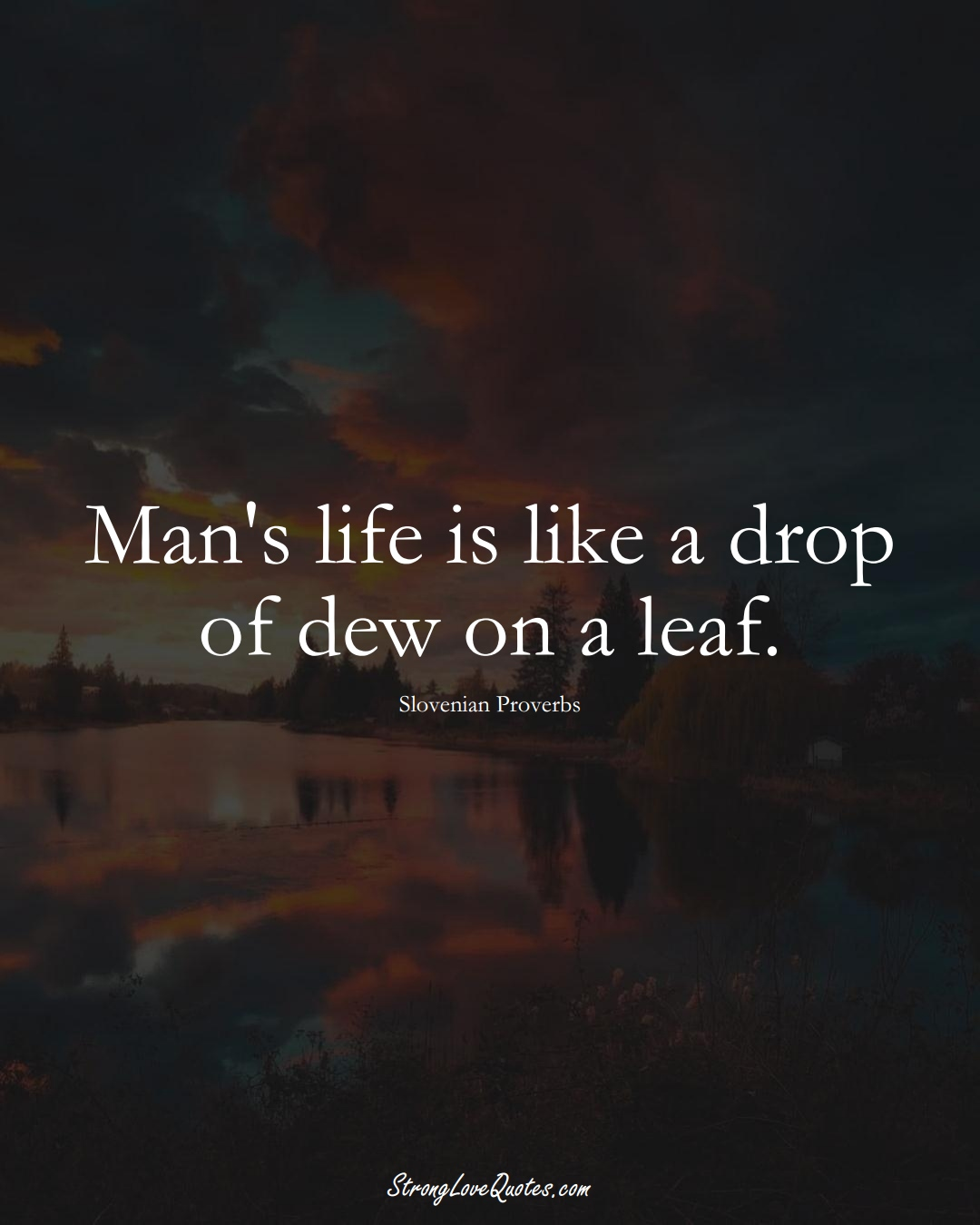 Man's life is like a drop of dew on a leaf. (Slovenian Sayings);  #EuropeanSayings