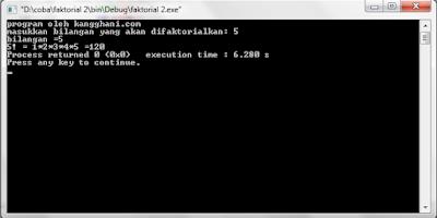 Program Menghitung Faktorial dengan C++