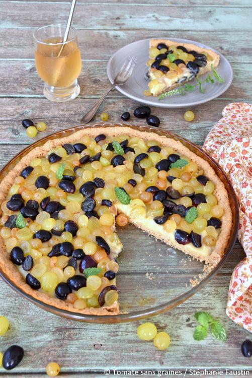 Tarte végane au raisin et à la crème pâtissière