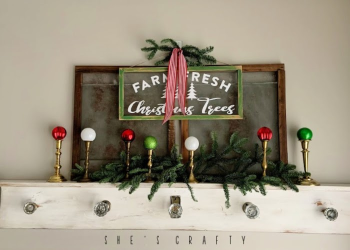 Vintage Christmas Decor Vignettes  |  see various ways to use vintage Christmas pieces in your home decor   |  mantel, brass candlesticks
