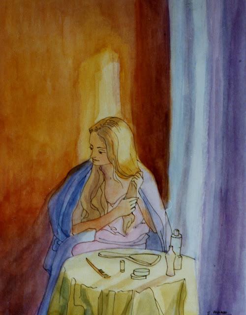 Cristina Alonso arte original acuarela mujer peinandose