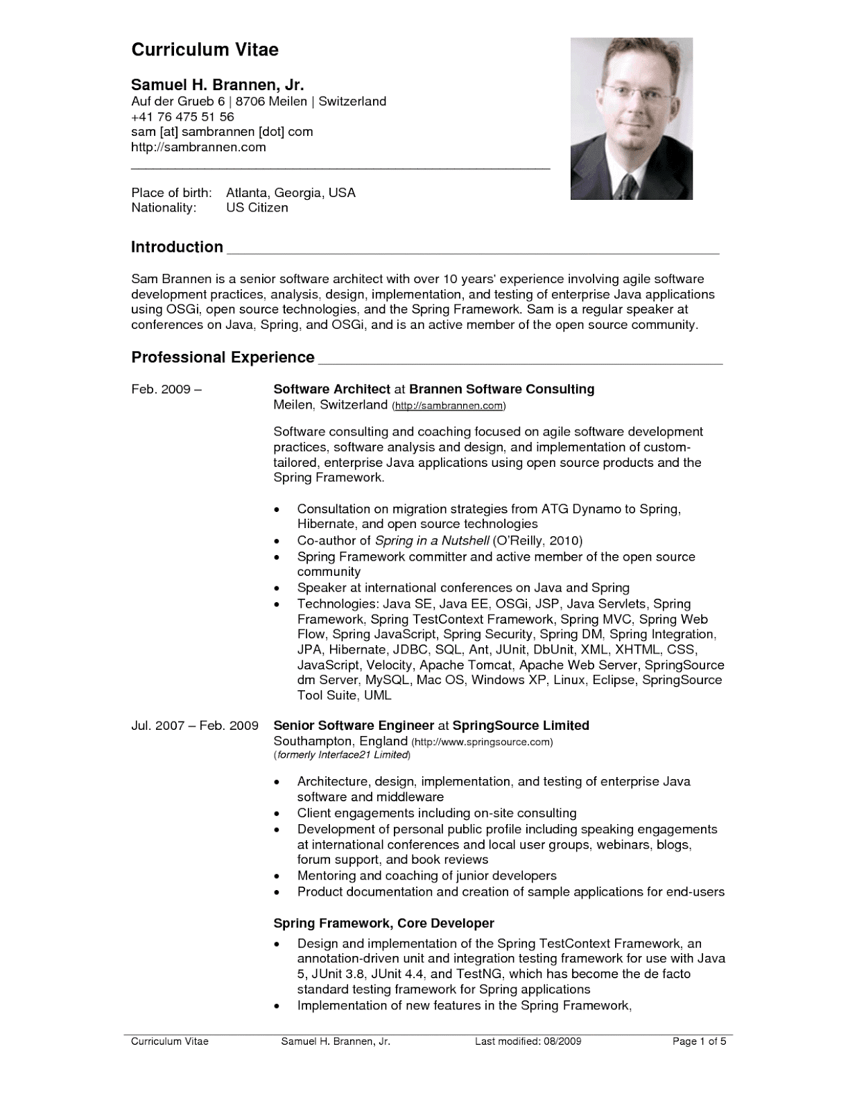 sample format of resume